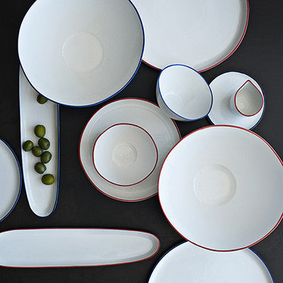 Canvas Home Ltd C37-BWL-PB-RL Canvas Home Abbesses Pasta Bowl with Red Rim-Pack of 4 Porcelain