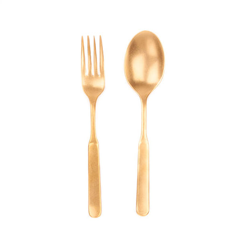 Lucca 2pc Salad Server in Gold