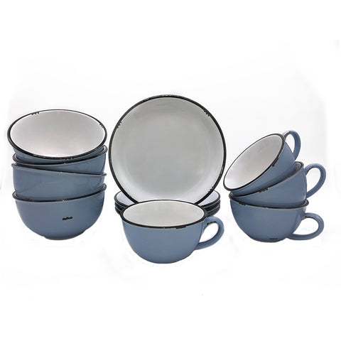 Tinware 12 Piece Breakfast Set with Latte Cups - Cashmere Blue