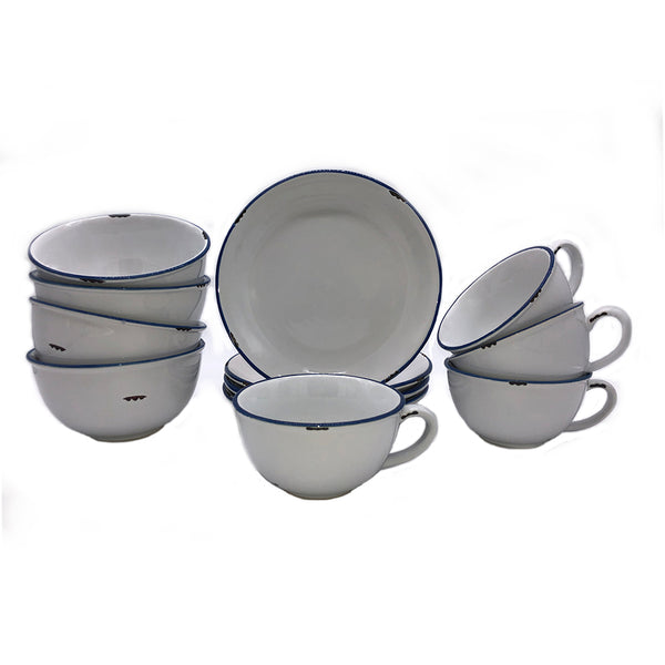 Tinware 12 Piece Breakfast Set with Latte Cups - White
