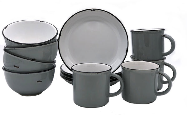 Tinware 12 Piece Breakfast Set with Mugs - Light Grey