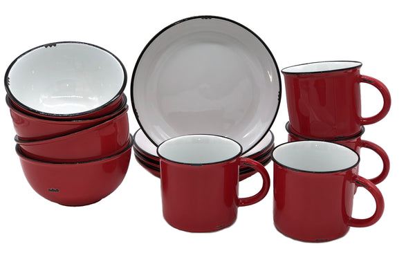 Tinware 12 Piece Breakfast Set with Mugs - Red