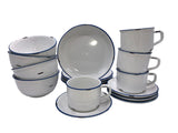 Tinware 16 Piece Breakfast Set with Cup & Saucer - White