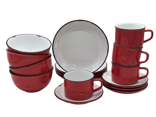 Tinware 16 Piece Breakfast Set with Cup & Saucer - Red