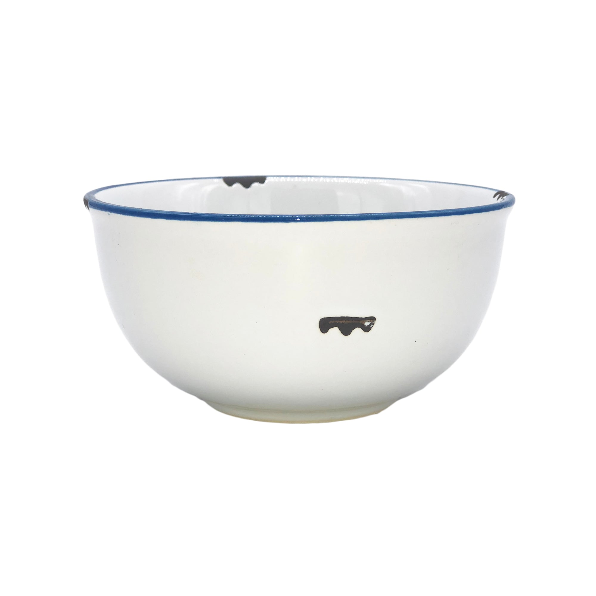 Tinware 8 oz. Small Bowl in White/Blue Rim - Set of 4