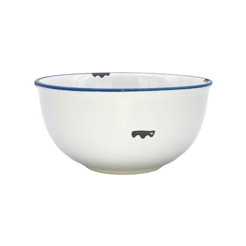 Tinware Small Bowl in White/Blue Rim - Set of 4