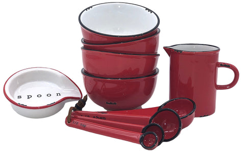 Tinware 7 Piece Prep Set - Red