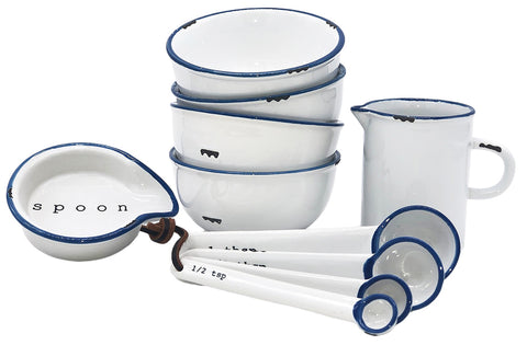 Tinware 7 Piece Prep Set - White