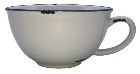 Tinware Latte Cup in White/Blue Rim