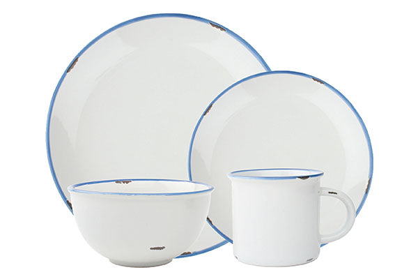 Tinware 4-piece place setting in White/Blue