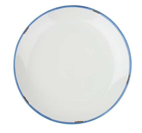 Tinware Salad Plate in White/Blue  - Set of 4