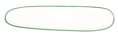 Abbesses Oblong Plate Green Rim - Set of 4