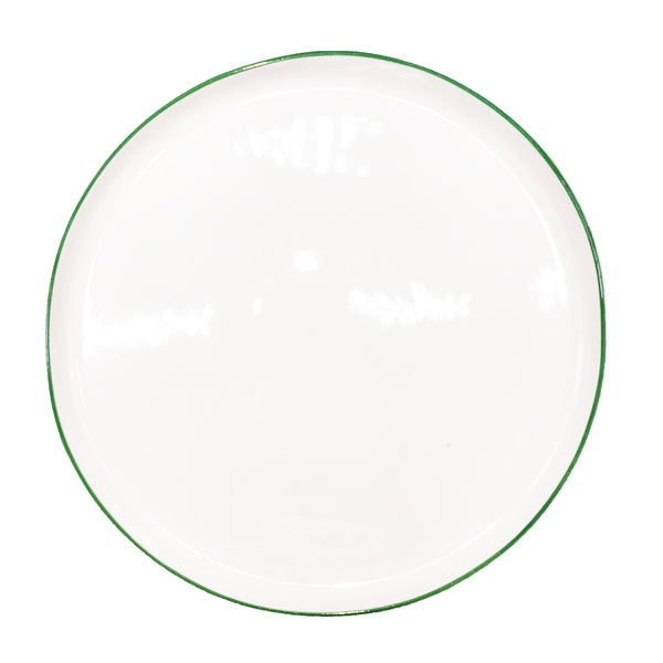 Abbesses Large Plate Green Rim - Set of 4