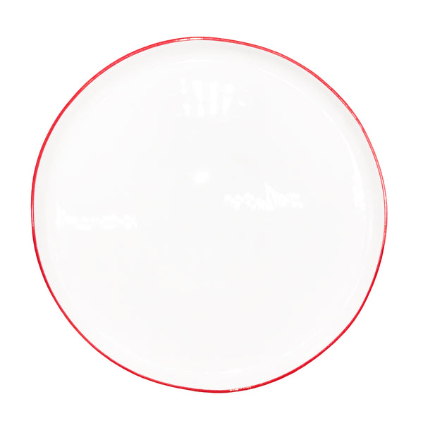 Abbesses Large Plate Red Rim - Set of 4