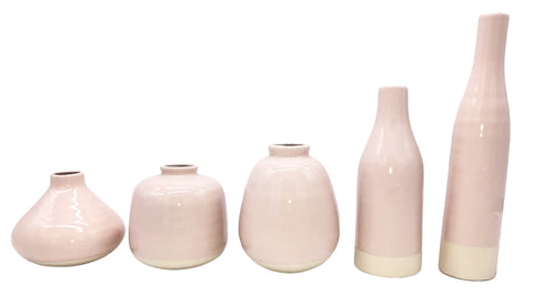 Morandi 5 Piece Table Vase Set - Pink