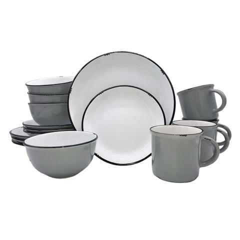Tinware 16-piece place setting in Light Grey