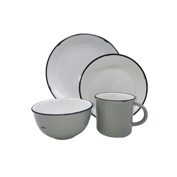 Tinware 4-piece place setting in Light Grey