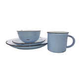 Tinware 16-piece place setting in Cashmere Blue