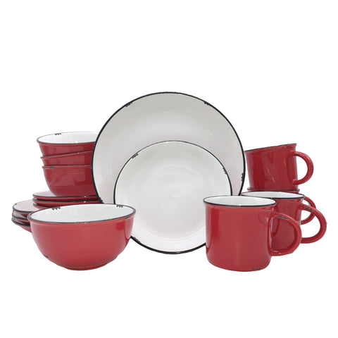Tinware 16-piece place setting in Red