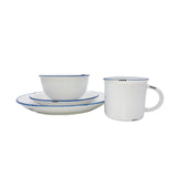 Tinware 16-piece place setting in White/Blue