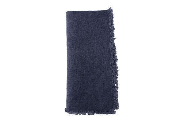 Lithuanian Linen Fringe Napkin in Cobalt Blue - Canvas Home