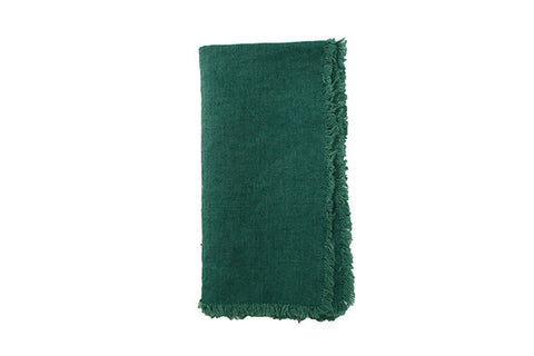 Lithuanian Linen Fringe Napkin in Forest Green - Canvas Home
