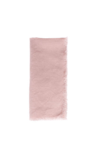 Lithuanian Linen Fringe Napkin in Pink - Set of 4