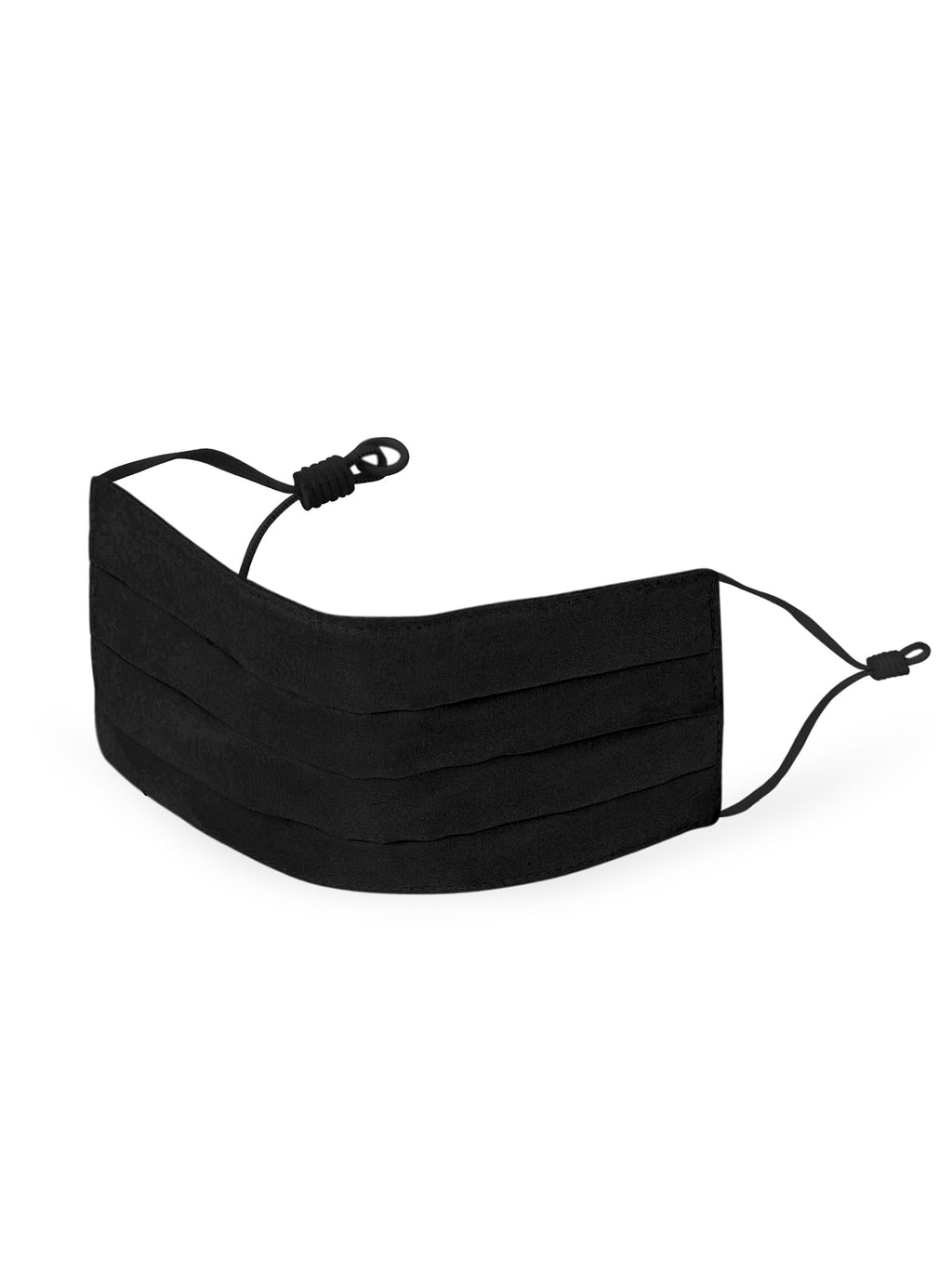 Reusable Pleated Silk Face Mask- Black