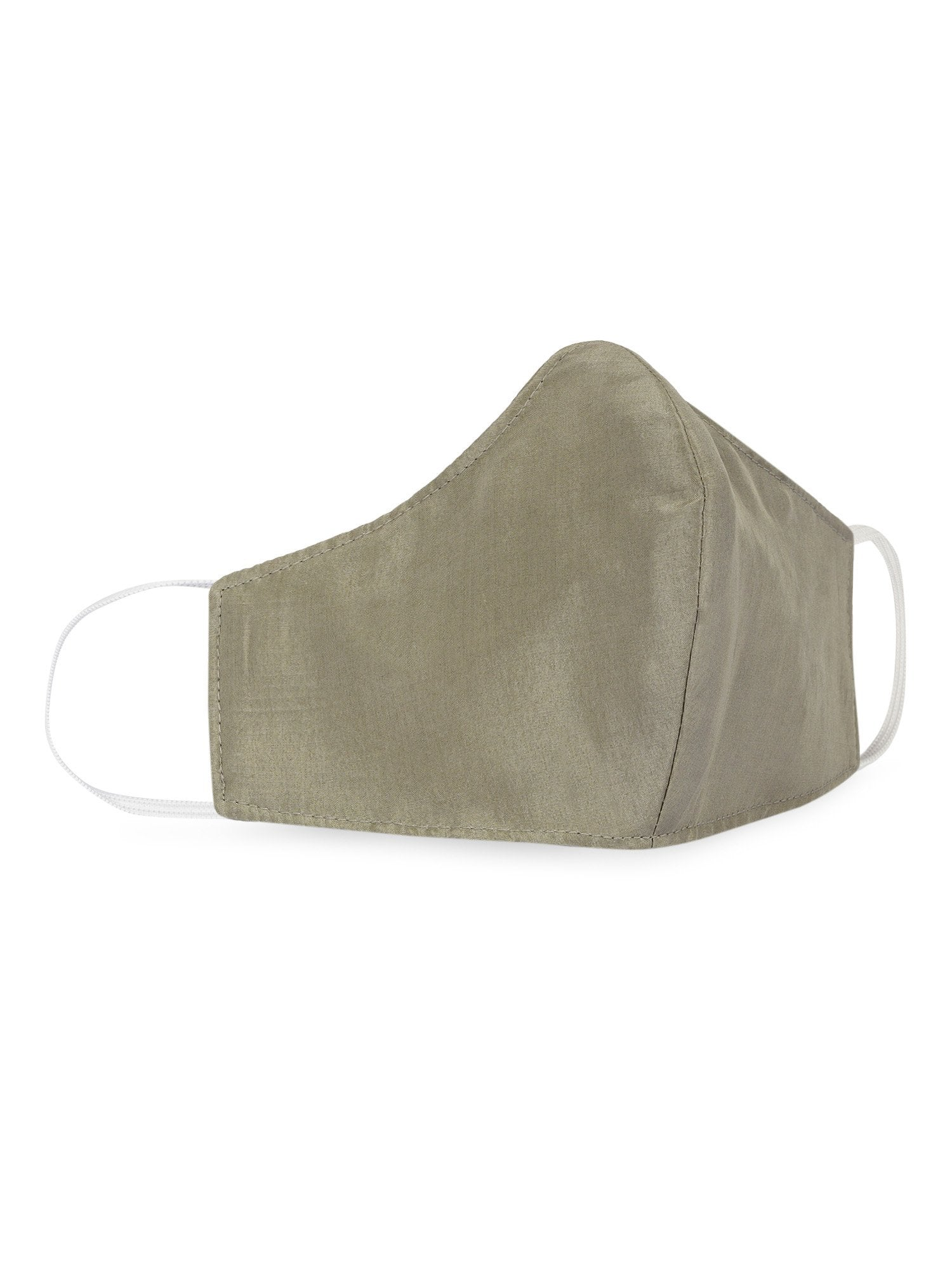 Reusable Silk Face Mask- Olive - the naked laundry.