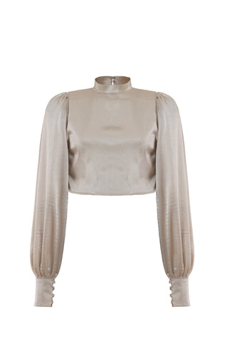 Balloon Sleeve Cuffed Crop Top - thenakedlaundry