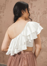Load image into Gallery viewer, Diagonal Frill Crop Top - thenakedlaundry