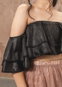 Bardot Frill Crop Top - thenakedlaundry