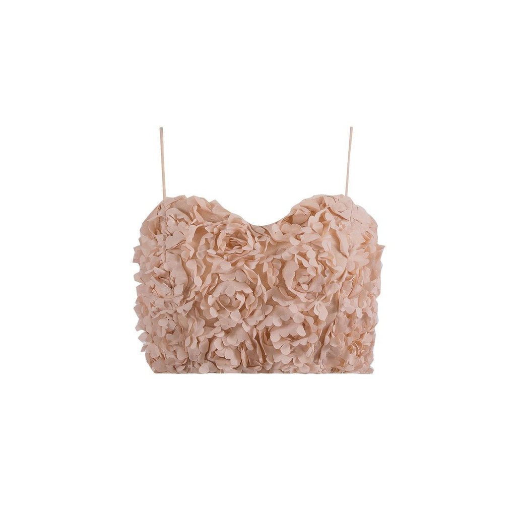 Petal Cami Crop Top - Camel - thenakedlaundry