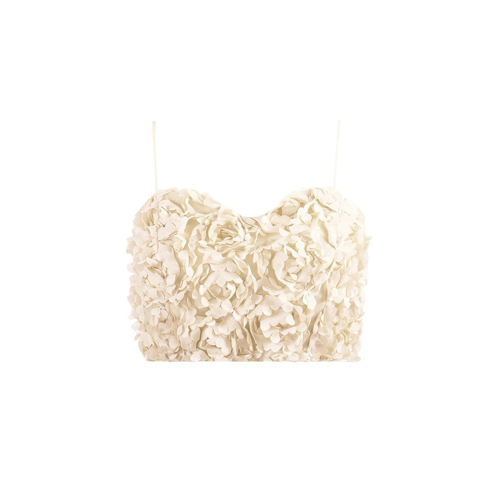 Petal Cami Crop Top- Cream - thenakedlaundry