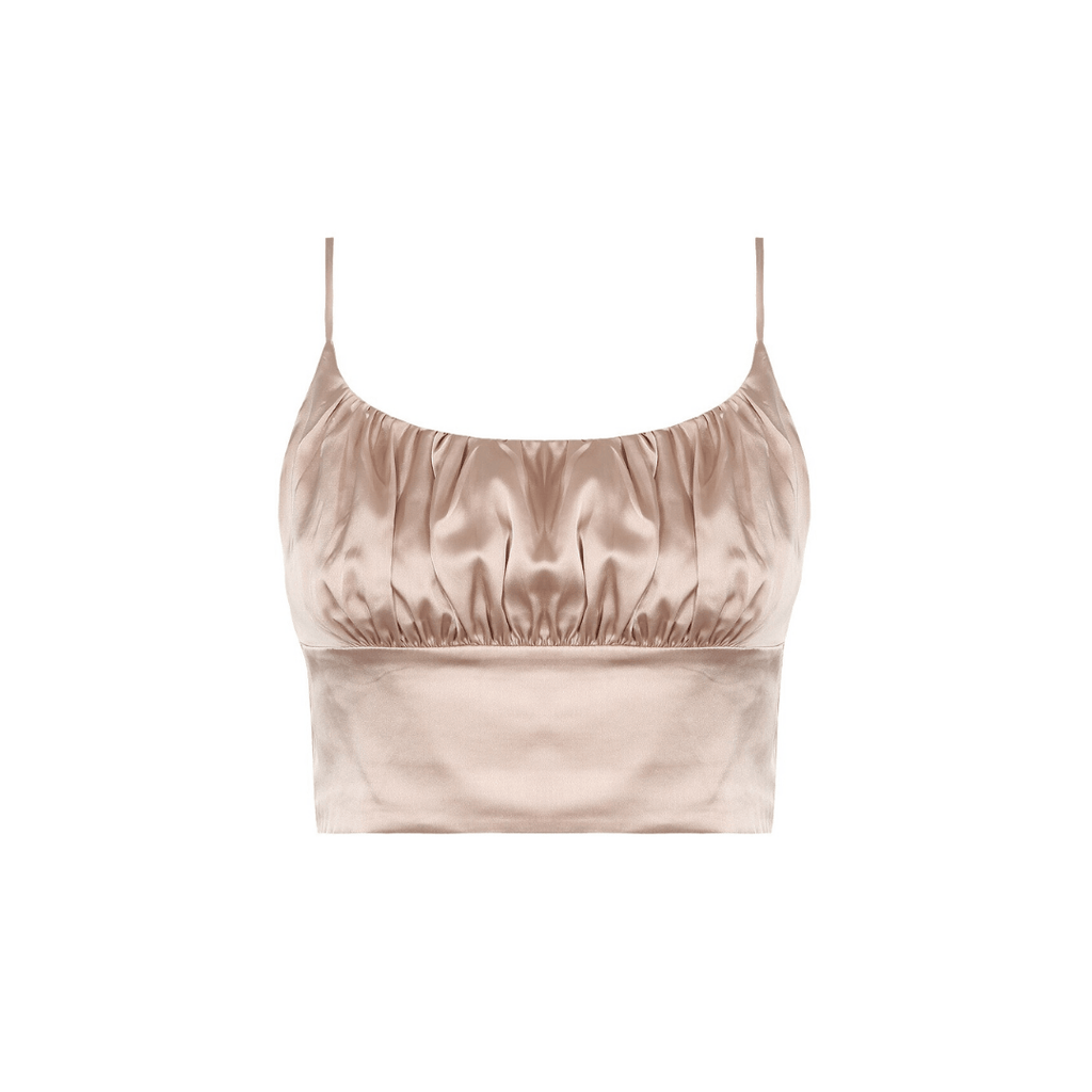 Ruched Cami Crop Top- Champagne - the naked laundry.