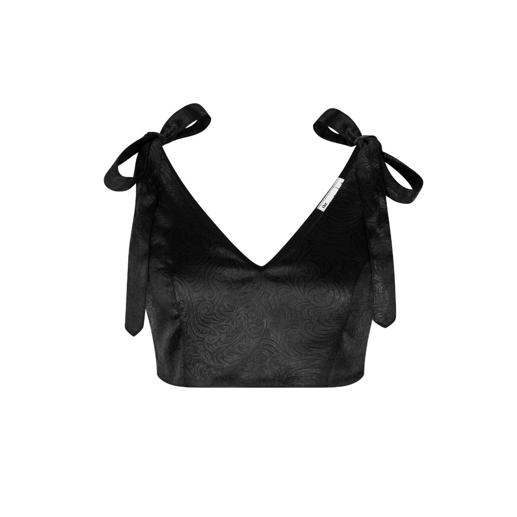 Tie on Bow Crop Top- Black