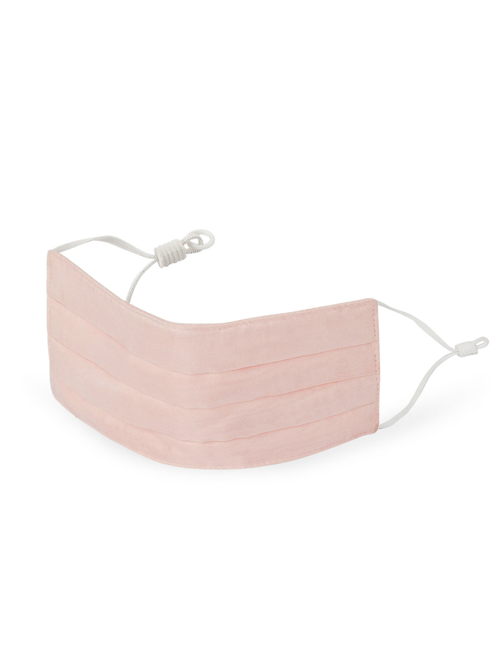 Reusable Pleated Silk Face Mask- Blush