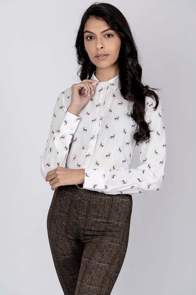 Hartwell Lydia Stags Luxury Viscose Shirt White