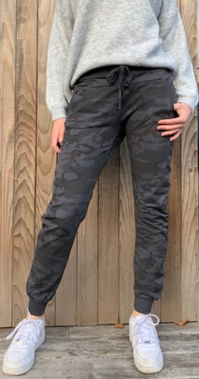 Velvet & Rose Camo Leisure Joggers Grey