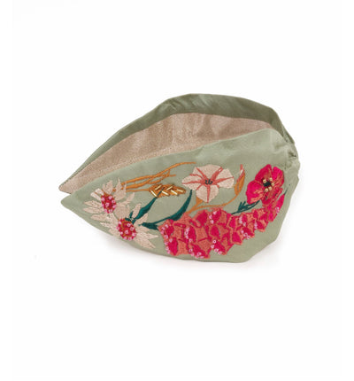 HDB16 Powder Country Garden Embroidered Headband Mint