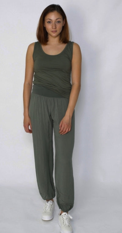 Velvet & Rose Plain Jersey Pants Dark Military