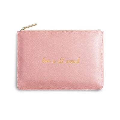 Katie Loxton Perfect Pouch Love Is All Around Pink Shimmer
