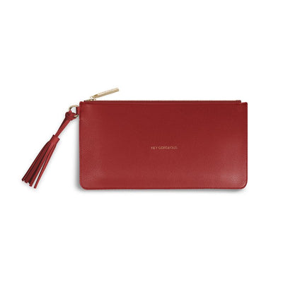 Katie Loxton Florrie Tassel Pouch Hey Gorgeous Ruby Red