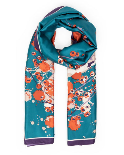 SAT6 Powder Watercolour Fox Satin Print Scarf Teal