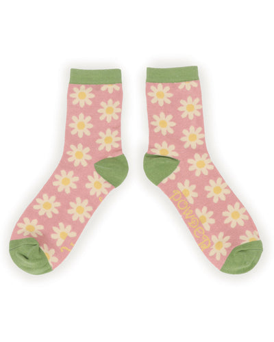 SOC337 Powder Daisy Ankle Socks Pale Pink