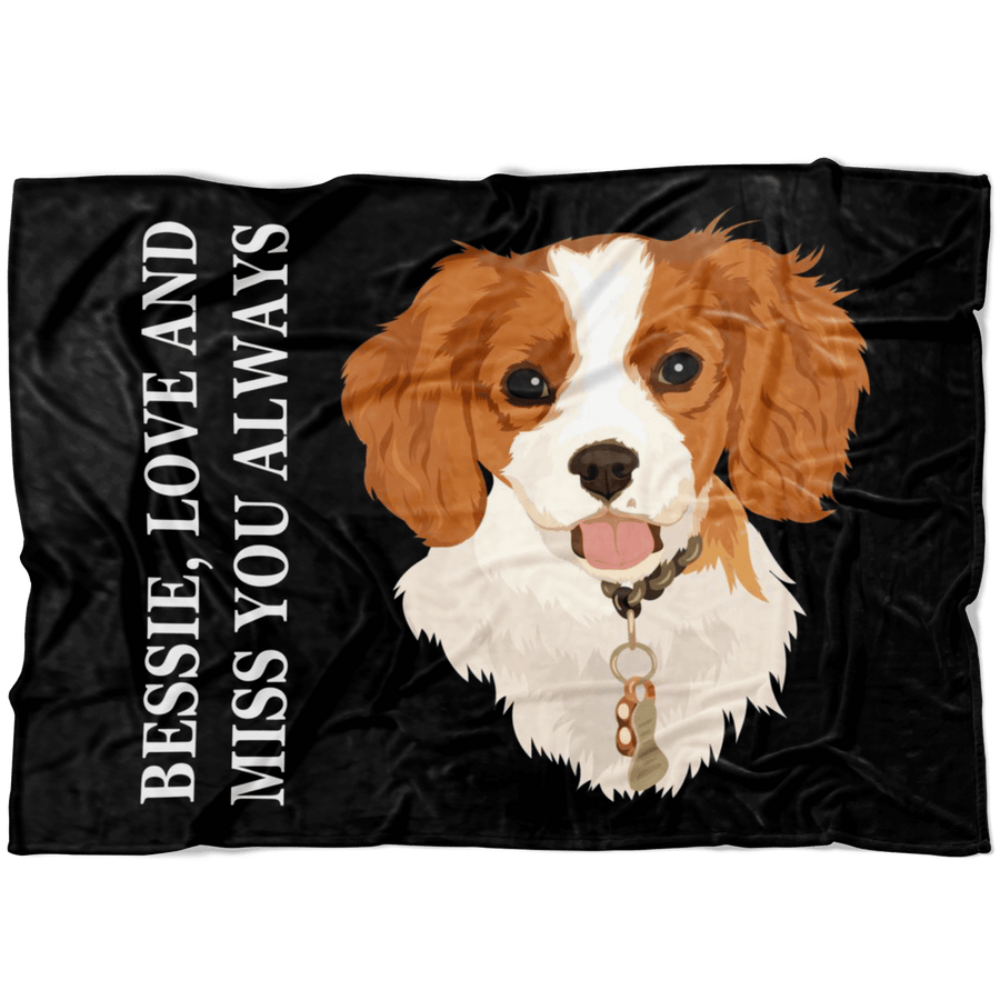 Custom Pet Print Fleece Blanket with Text