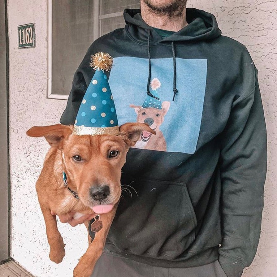 Men's / Women's Premium Pet Portrait Hoodie (Black)