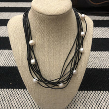 Load image into Gallery viewer, Black Leather and Pearl Necklace