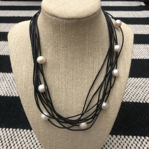 Black Leather and Pearl Necklace