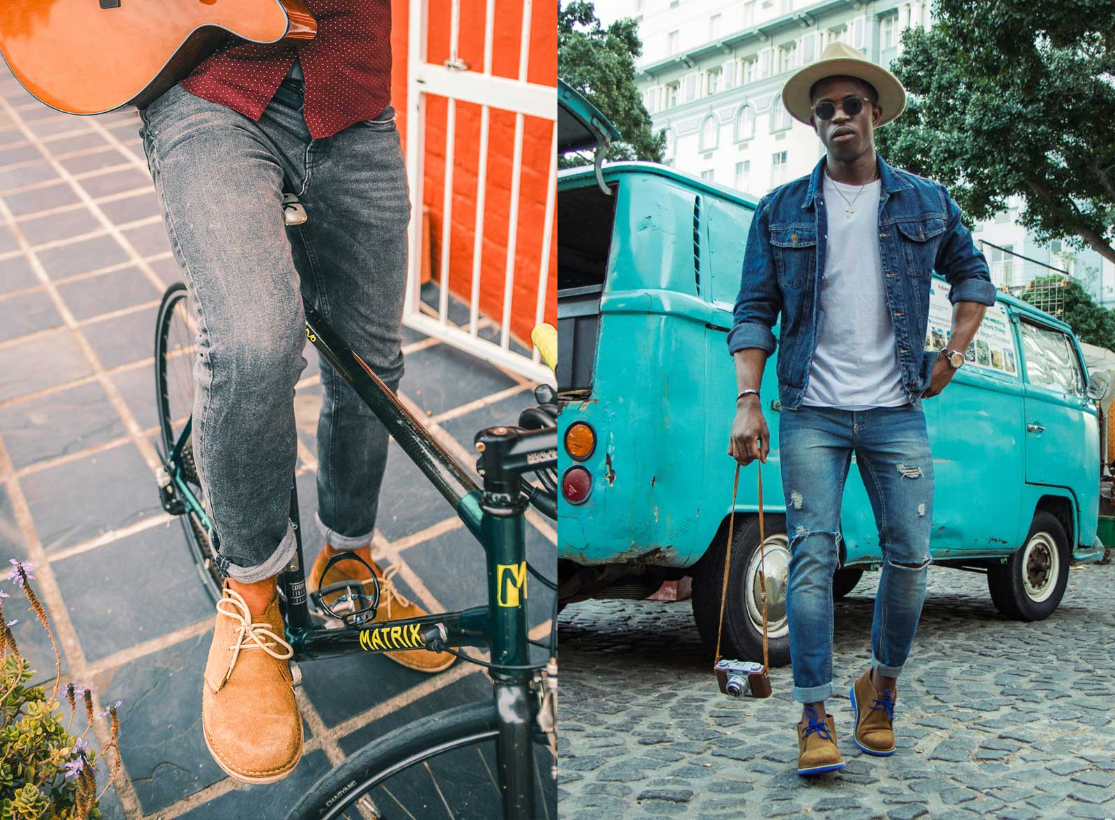 Two men wearing Veldskoen shoes ethically handcrafted genuine leather boots and shoes from South Africa heritage mens veldskoene original suede chukkas wearing jeans and riding bike with blue vw bus in back ground